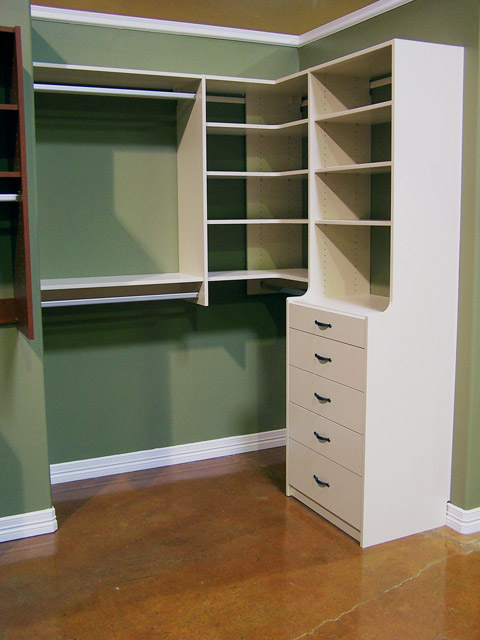 Almond finish for your Closets To Go closet, pantry, desk, or other organizer system