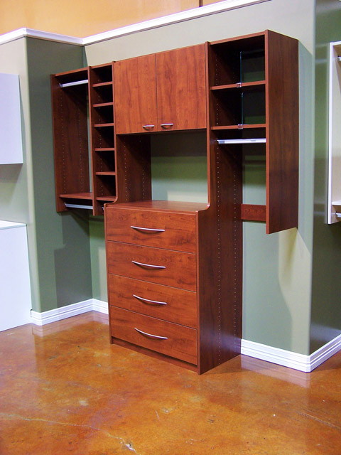 Sunset Cherry finish for your Closets To Go closet, pantry, desk, or other organizer system